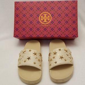 Tory Burch (Size 7) Gold Star Slides